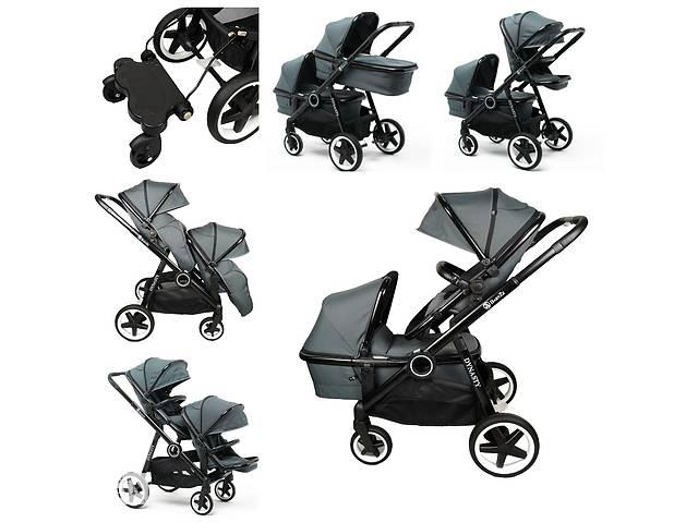купить бу Детская универсальная коляска для двойни и погодок Babyzz Dynasty серая в Одессе