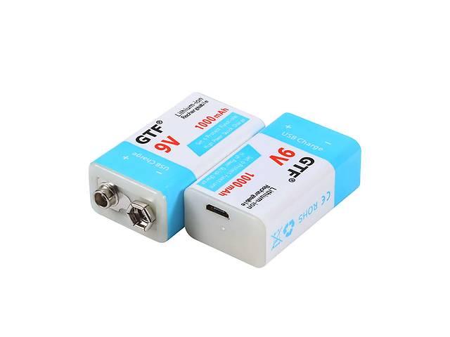 купить бу Аккумулятор Крона 6F22 9V 1000mAh Li-pol зарядка через microUSB в Киеве