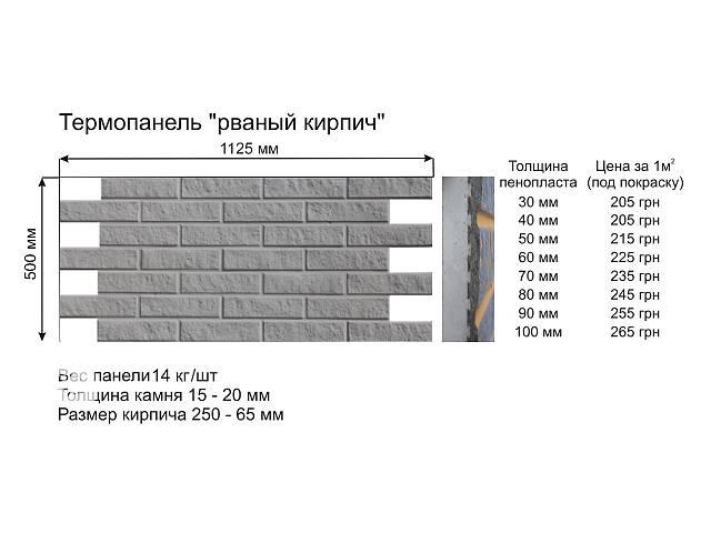 Теплоизоляционные фасадные термопанели.Рваный кирпич.- объявление о продаже  в Харкові