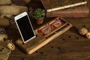 Корпоративный мужской женский подарок настольный органайзер подставка для телефона на рабочий стол из дерева с логотипом