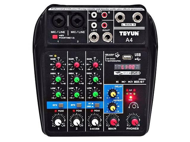 продам Teyun A4 Микшерный пульт, питание 5V Bluetooth USB юсб блютуз Аудиоинтерфейс  TU04 BT бу в Каменском (Днепродзержинск)