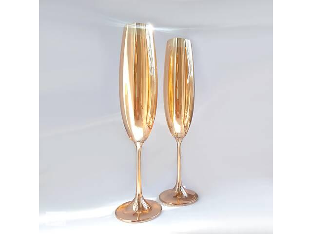 купить бу Набір келіхів для шампанського Bohemia Milvus 250 мл золотий мед в Запоріжжі