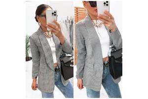 Классический женский пиджак свободного кроя без пуговиц 2 цвета С М Л
