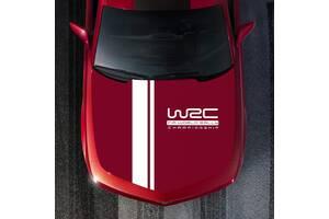 Наклейка на капот авто две полосы+WRC Белая