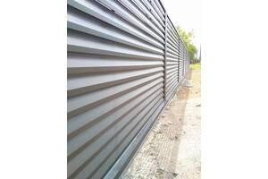 Ламели для забора металлический Жалюзи 112мм цвет 7024 графитовый матовый двухсторонний 0,5 Корея