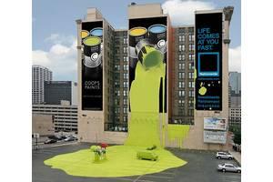 Брандмауэр реклама на фасаде  здании и домах