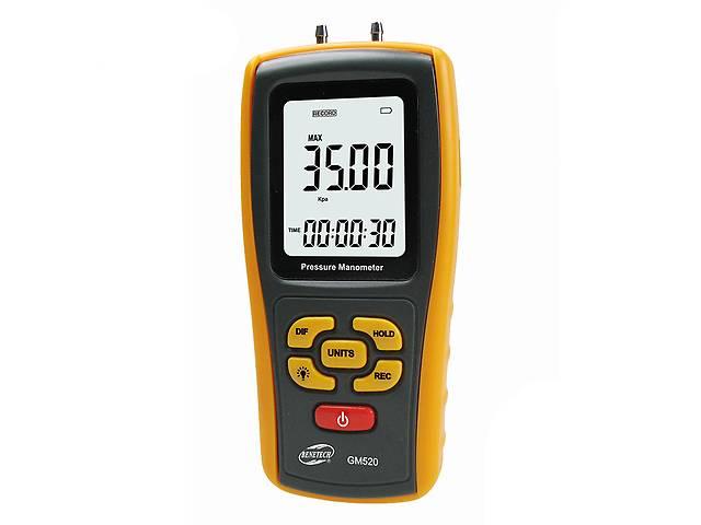 купить бу Цифровой дифференциальный манометр Benetech GM520 (0.01/35 кПа) USB интерфейс максимальное давление до 150 кП (mdr_5244) в Киеве