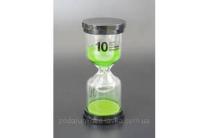 """9290184 Песочные часы """"Круг"""" стекло + пластик 10 минут Зелёный песок"""