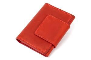 Кожаная винтажная визитница GRANDE PELLE 11407 Красный