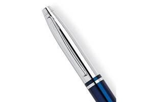 Шариковая качественная ручка Cross Calais Blue Chrome BP Cr01123 синяя