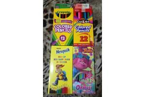 Цветные карандаши 12 цветов Crayola CrazArt 1 вересня Тролли Несквик Супер карандаши, очень яркие качественные мягкие
