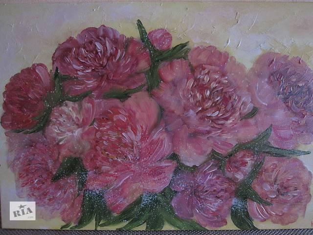 Акция!картина розовые пионы, холст, масло, 60 на 40 см- объявление о продаже  в Киеве