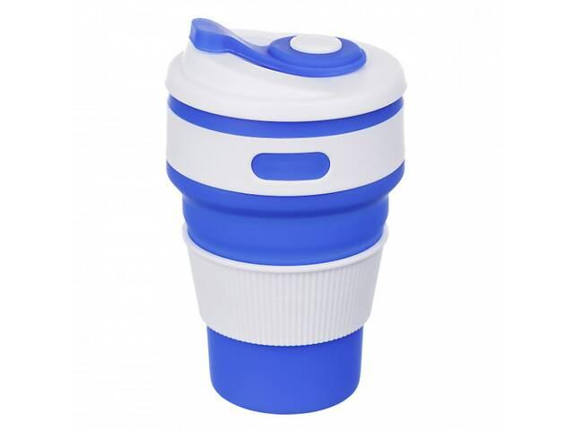 купить бу Чашка складна силіконова HMD Collapsible 5332 350 мл Синя (88-8723426) в Києві
