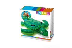 Детский надувной плотик однокамерный для плавания Intex Черепаха150 x127 см, с ручками, зеленая