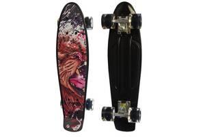 Дитячий пенні-борд (скейт) з підсвічуванням коліс Profi з малюнком, 56х14,5 см чорний