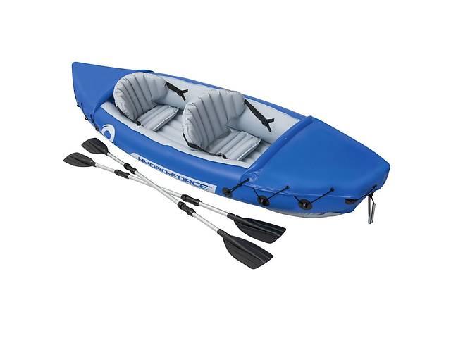 Двухместная надувная байдарка-каяк с веслами Bestway 65077 Lite-Rapid X2 Kayak Синяя, 321*88 см