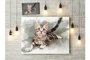 Дизайн и печать картин по фотографии 50х40 см в акварельном стиле на холсте