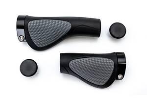 Грипсы L130mm / R85mm эргономичные с алюм. замками FSK-BH-185 черно-серый