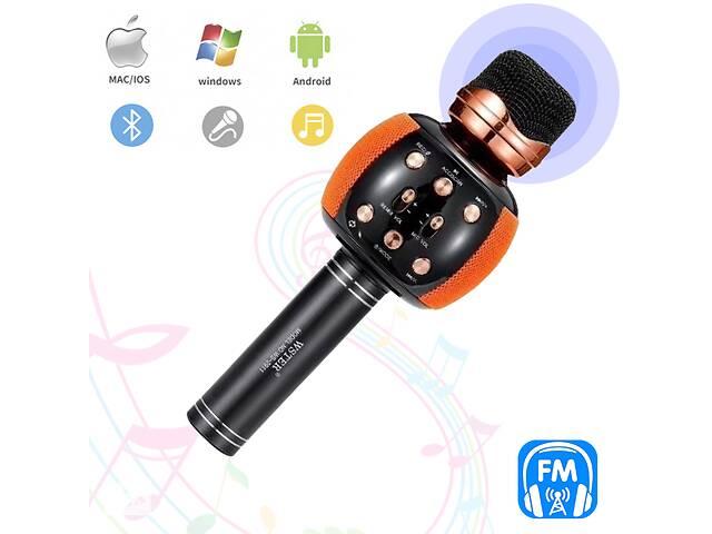 купить бу Караоке микрофон с колонкой и FM радио беспроводной вокальный портативный Bluetooth Wster Karaoke WS-2911 Золотой в Одессе
