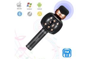 Караоке микрофон с колонкой и FM радио беспроводной вокальный портативный Bluetooth Wster Karaoke WS-2911 Черный