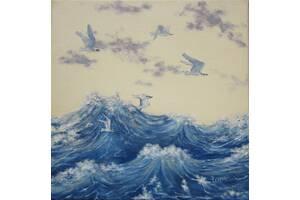 картина маслом чайки над водой
