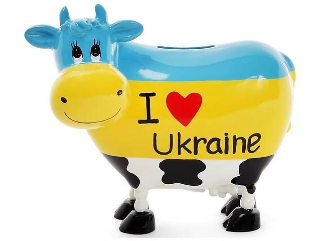 купить бу Копилка-коровка I love Ukraine 16.5х9х14 см керамическая (psg_BD-504-125) в Киеве