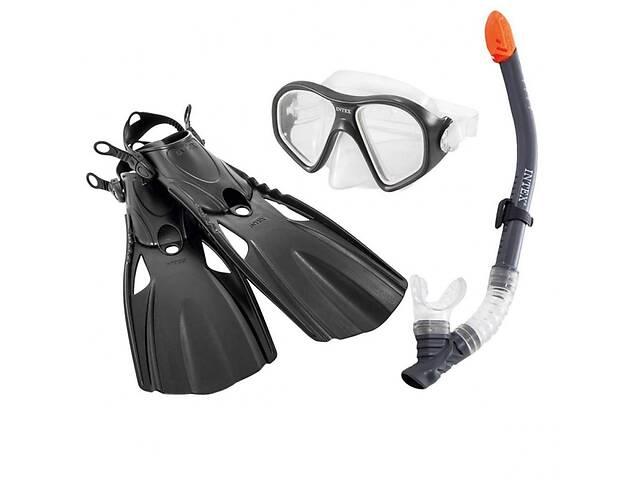 бу Набор для плавания 3в1 Intex Reef Rider Swim Set ласты-размер L(26-29см), трубка, маска, черный в Києві