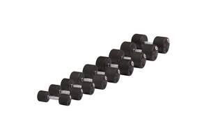 Набор профессиональных гантелей обрезиненных 32-40 кг, 5 пар STEIN Rubber Dumbbell set 32-40 KG, 5 pairs