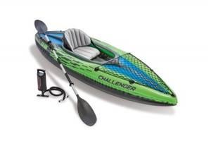 Надувная байдарка Challenger-К1 одноместная с насосом и веслами SKL11-292189