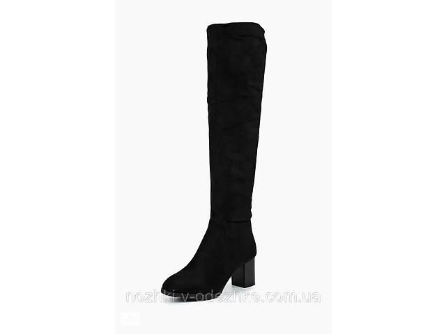 Нарядные замшевые женские высокие сапоги ботфорты черные каблук 36 37 размер 37- объявление о продаже  в Днепре (Днепропетровск)