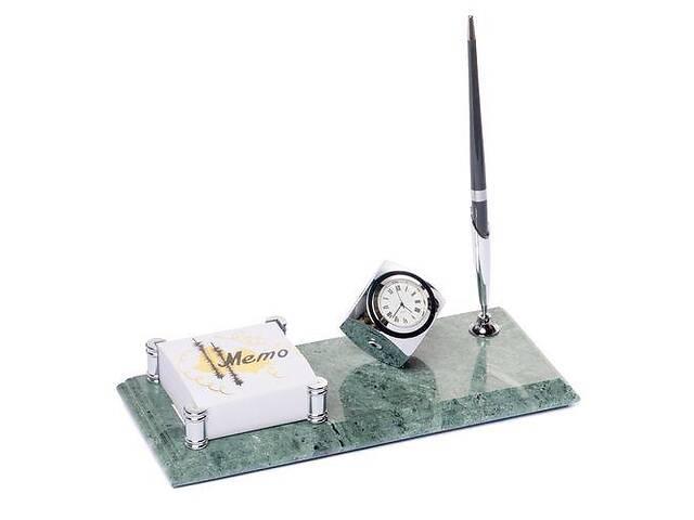 продам Настольная подставка на стол руководителя BST 540054 24х10 с часами ручкой и фиксатором для бумаг бу в Киеве