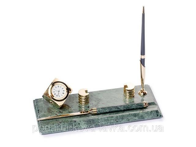 продам Настольная подставка визитница BST 540053 24х10 с ножиком для вскрытия писем часами и ручкой мраморная бу в Киеве
