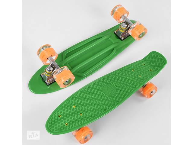бу Пенни борд, детский скейт 1705 Best Board со светящимися колесами, дека из прочного пластика, зеленый в Львове
