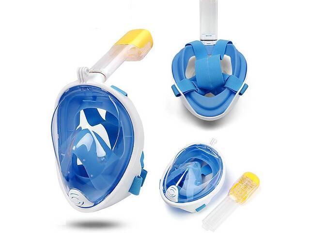 Полнолицевая маска для плавания снорклинга FREE BREATH(размер S-M) с креплением для камеры синяя