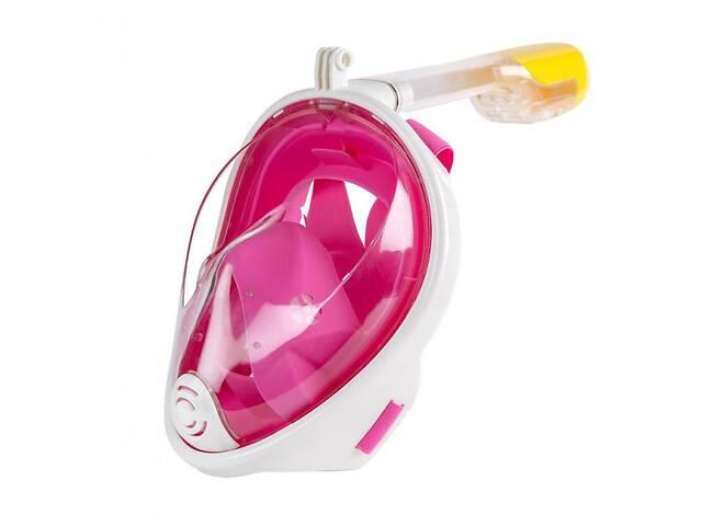 Полнолицевая панорамная маска для снорклинга FREE BREATH(размер S M) с креплением для камеры Pink