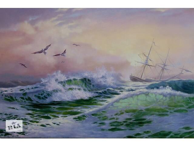 Продам картину - Морской пейзаж. Холст, масло, 40х60- объявление о продаже  в Турбове