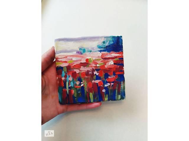 """Продам мініатюрну картину маслом """"Червоне поле""""- объявление о продаже  в Калуше"""