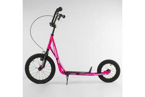 """Самокат детский Corso надувные колеса переднее 16"""" / заднее 12"""" + ручной передний тормоз Pink (86802)"""