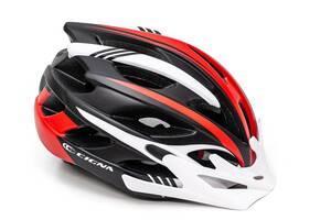 Шлем велосипедный с белым козырьком CIGNA WT-016 черно-бело-красный