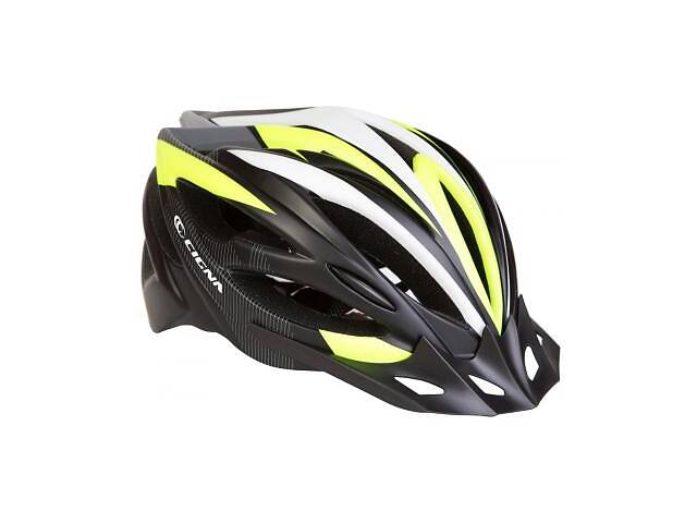 Шлем Velotrade с козырьком СIGNA WT-068 черно-бело-салатовый L (58-61см) (HEAD-016)- объявление о продаже  в Харкові