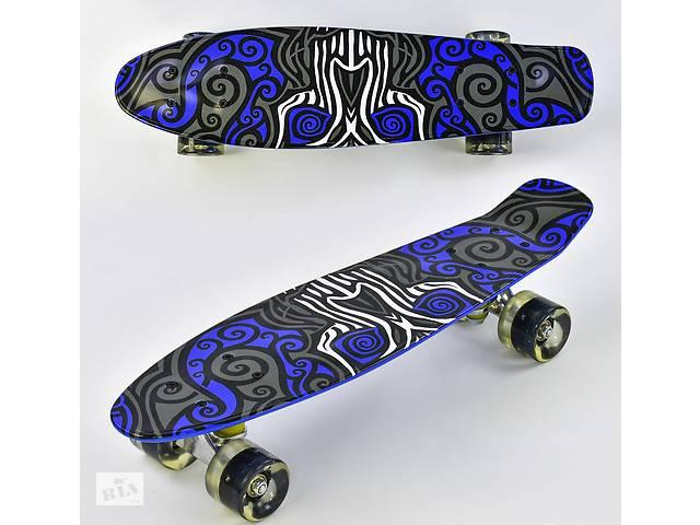 продам Скейт детский Penny board F 6510 Пенни борд абстракция синий со светящимися колесами бу в Одессе