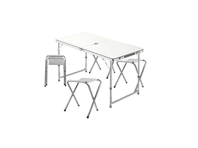 Стол складной с 4 стульями и отверстием для зонта Lanyu L-2-U Белый