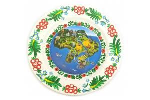 Тарелка Карта Украины расписано вручную (24 см) 30440F