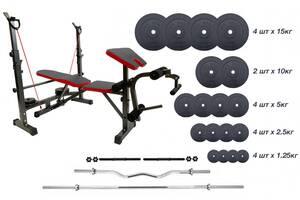 Универсальная скамья со стойками + Штанга 125 кг + 3 грифа RN-Sport