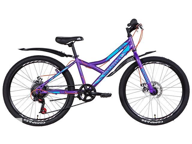 """продам Велосипед подростковый 24"""" Discovery Flint VBR 2021 рама 13"""" фиолетовый бу в Запорожье"""