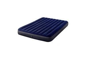 Велюровий двоспальний надувний матрац Intex 152x203x25 см, синій