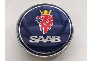 Колпачки заглушки в литые диски Saab 60/56/10 мм. Синие Хром.основа