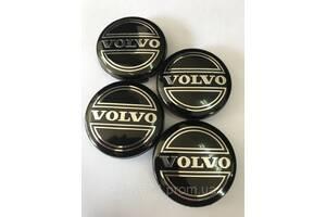 Колпачки заглушки в литые диски Volvo 64/61/10 мм. Черные/Хром