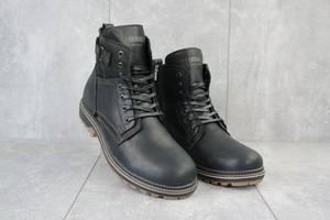 Мужские ботинки кожаные зимние черные Belvas 17197/1