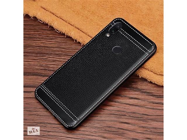 купить бу Чехол Litchi для Asus Zenfone Max (M2) ZB633KL (4A070EU) силикон бампер с рифленой текстурой черный в Киеве